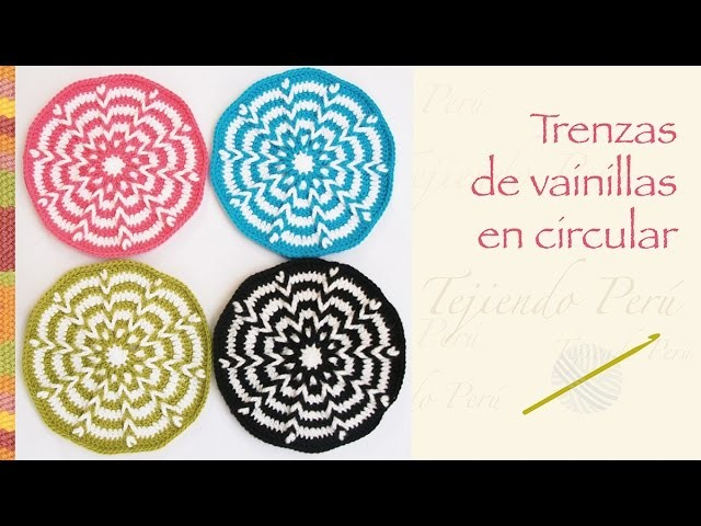 Crochet paso a paso: trenzas de vainillas en circular (incluye diagramas!) Hicimos un bolso :)