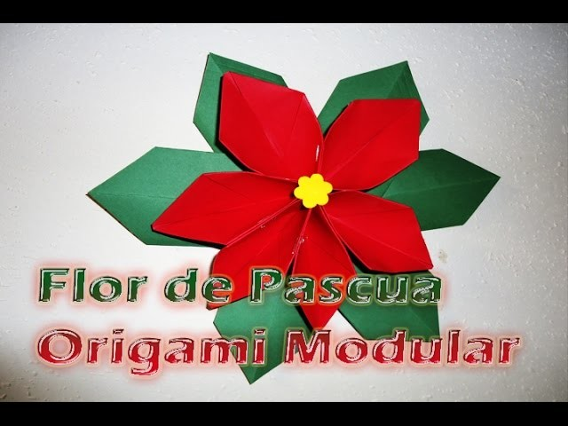 Flor de Pascua Navideña hecha de Cartulina, origami Modular  (Nochebuena)--DIY