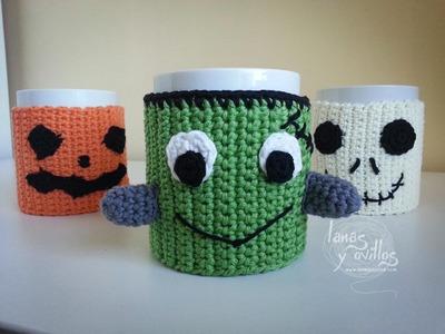 Tutorial Cubretazas (Cup Cozy) Halloween Crochet o Ganchillo Paso a Paso en Español