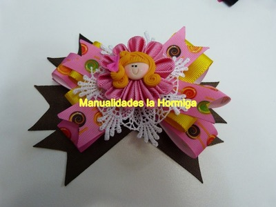 Diy. ideas faciles de moños-lazos decorados con flores kanzashi  y encaje con diseño