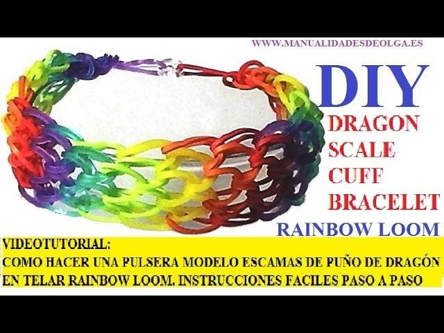 COMO HACER PULSERA ELÁSTICA DRAGON SCALE CUFF (ESCAMAS PUÑO DE DRAGÓN EN TELAR RAINBOW LOOM ESPAÑOL
