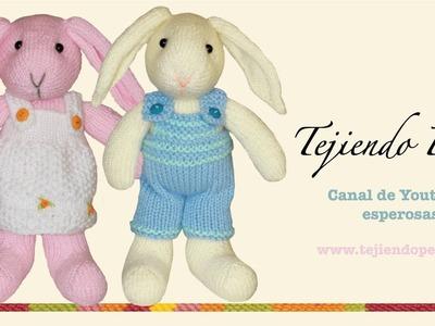 Conejos tejidos en dos agujas o palillos (Parte 1: cabeza)
