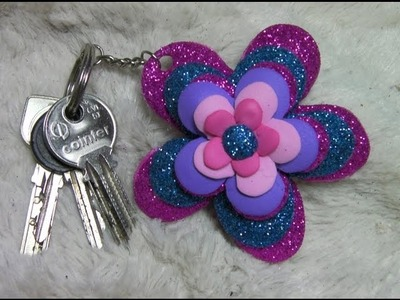 DIY FLOR EN LLAVERO, IDEAS  PARA REGALAR, KEY-RING FLOWER
