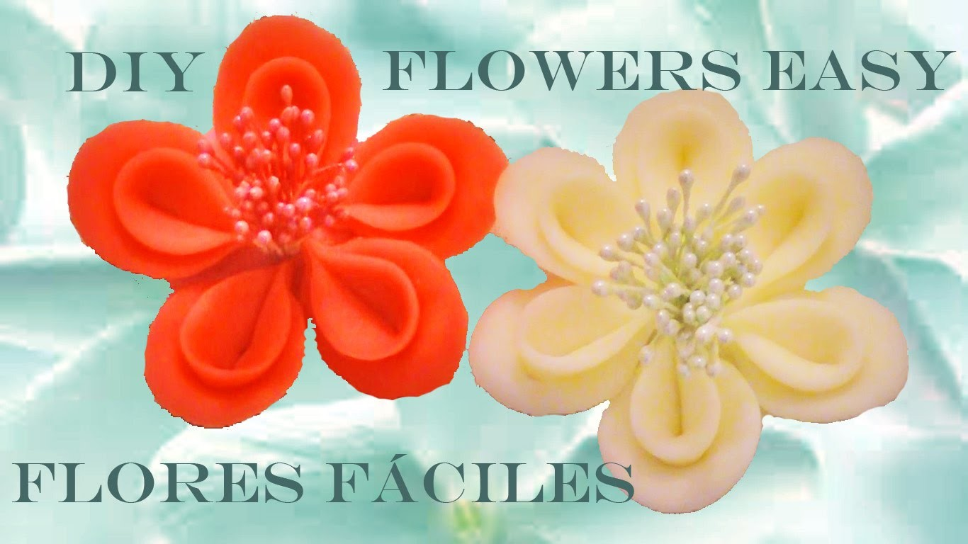DIY Kanzashi  flores de cinco y seis pétalos para el cabello - flowers easy five and six petals hair