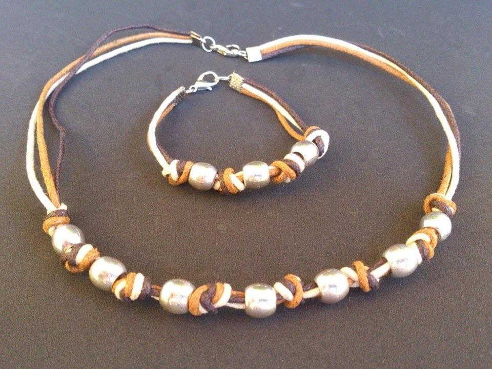 DIY- Pulsera y collar con nudos y cuendas.Necklace handmade