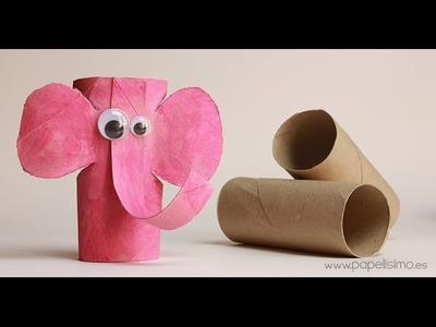 Elefante: Manualidades con rollos papel higiénico