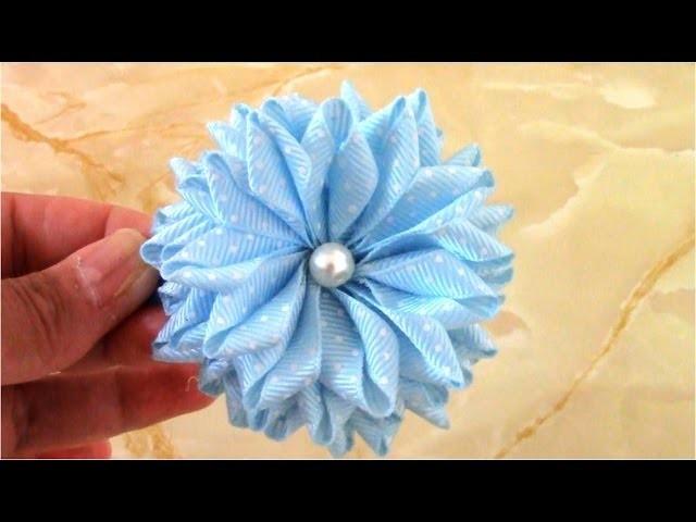 Flores Kanzashi en cinta Gross para el cabello