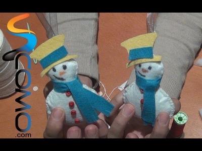 Manualidades con fieltro para navidad - Muñeco de nieve para el árbol