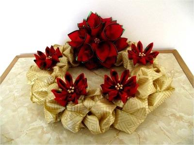 Corona Navideña de Adviento trenzada en cintas con moños flores