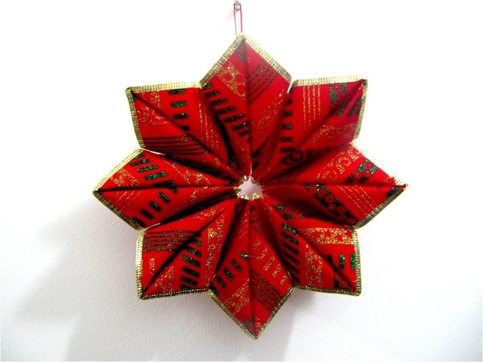 Moños navideños estrella de rubí  en cintas paso a paso