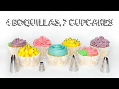 7 maneras de decorar cupcakes, con 4 boquillas