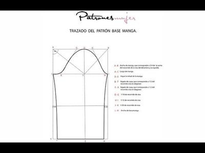 Como hacer un patrón de manga base con patronesmujer.com. Diy patrón de manga.