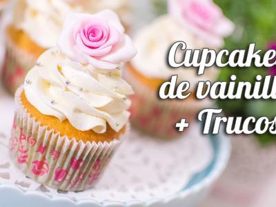Cupcake de vainilla + trucos para cupcakes perfectos
