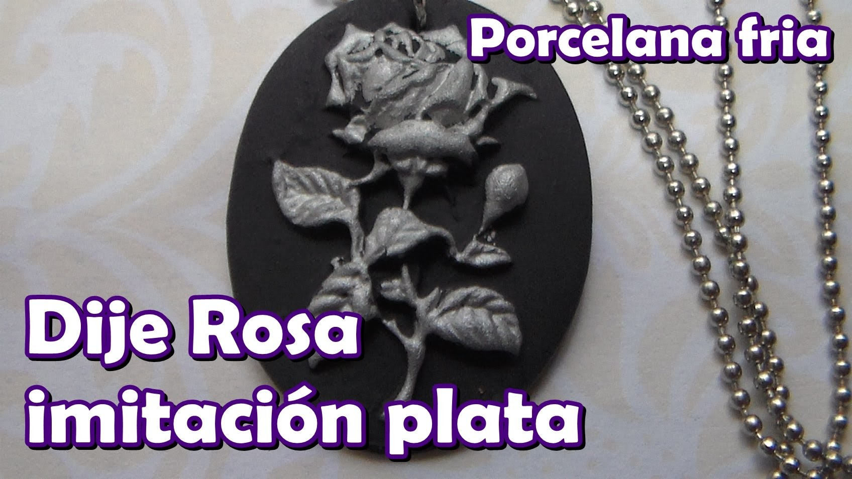 Dije Rosa imitación plata en porcelana fría con molde