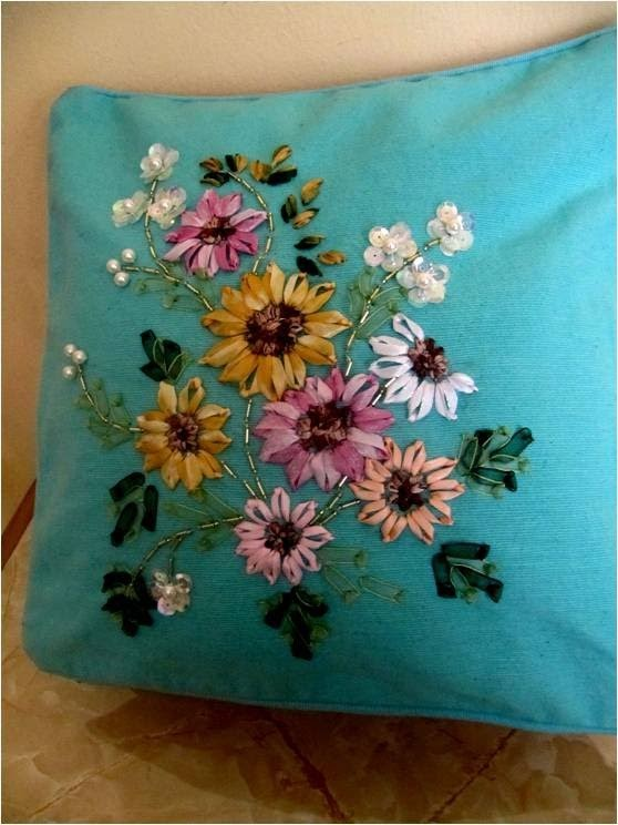 DIY Cojines bordados en cintas girasoles - DIY cushions embroidered ribbons sunflowers