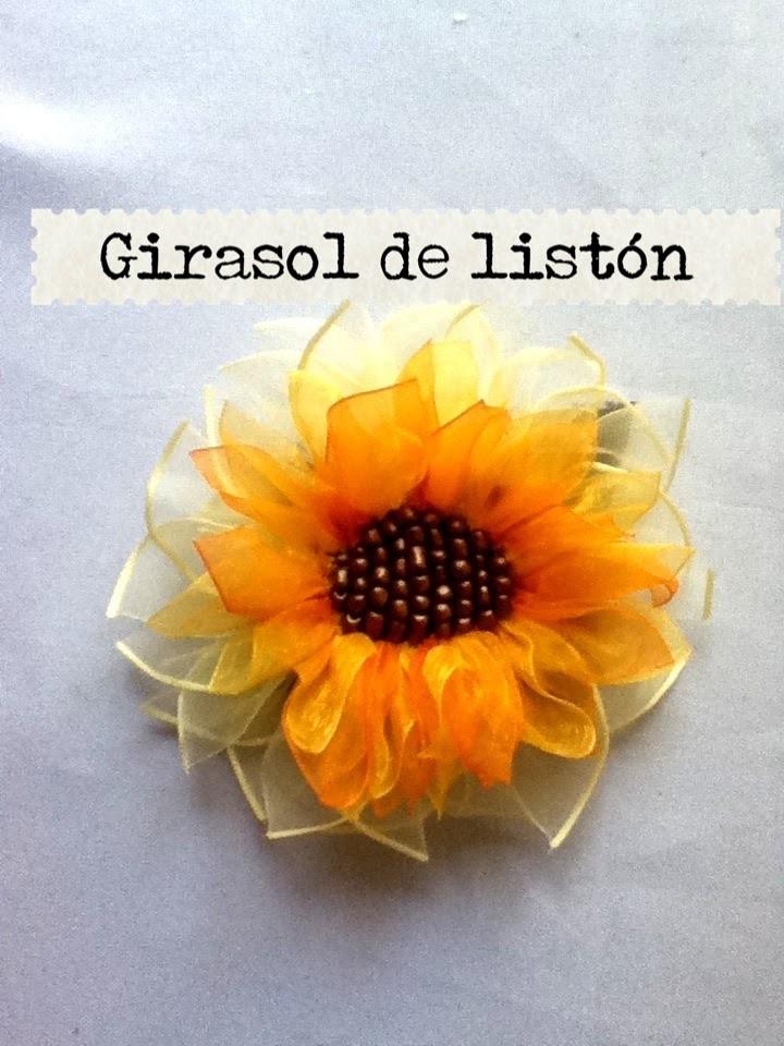 DIY como hacer flor 3 girasol listón cinta.juegos de baño Sunflower liston