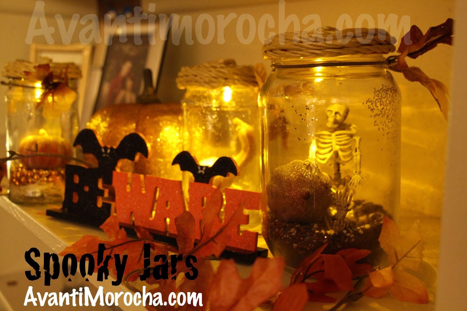 DIY Spooky Jars. Frascos Espeluznantes.Halloween decoracion. Pumpkin Jars. Fall Decor