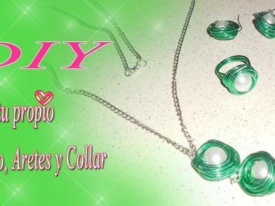 ♥Manualidades.  ✂ DIY crea tus anillo, aretes y collar con alambre♥