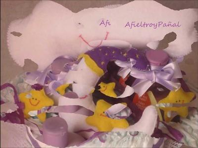 Tarta de Pañales Dulces Sueños Bebé. Video-Fotos. AfieltroyPañal Online (Málaga)