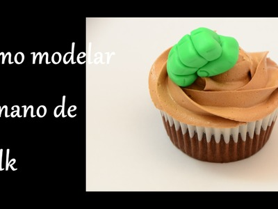 Como hacer.modelar la mano de Hulk en fondant. How to make