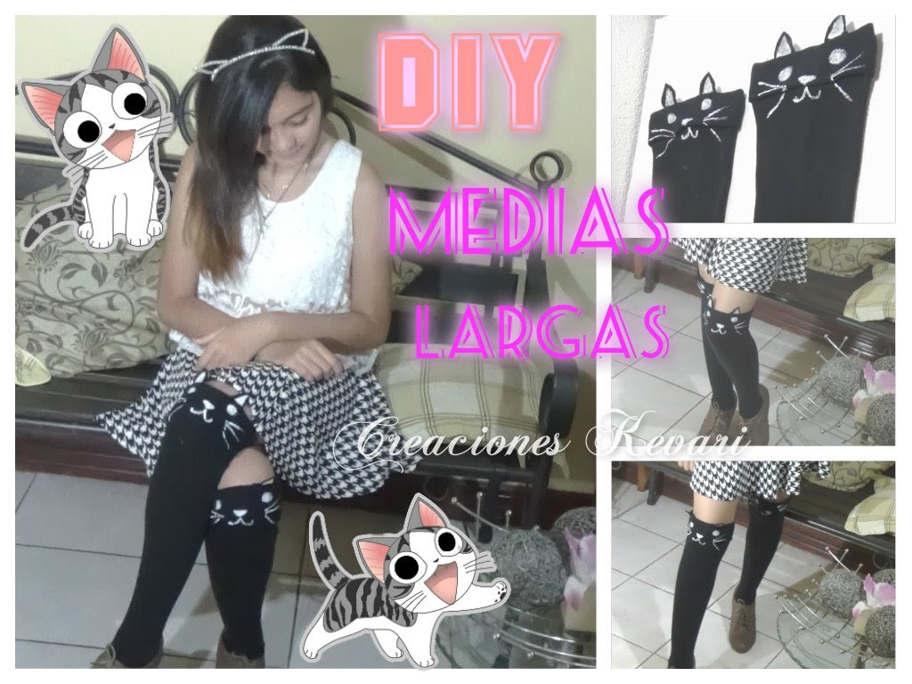 DIY Medias altas o largas de gatito hasta la rodilla - HIGH KNEE SOCKS