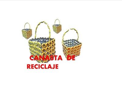 Manualidades. Como hacer canasta con tapas recicladas