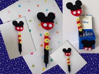 PLUMA DE MICKEY  MOUSE ADORNADA CON LIMPIA PIPAS-. PIPE CLEANERS ICKEY MOUSE PEN