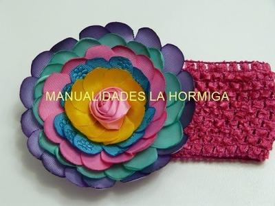Como elaborar flores de cinta grandes y fáciles, para el cabello.