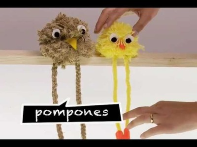¿Cómo hacer muñecos de pompones?