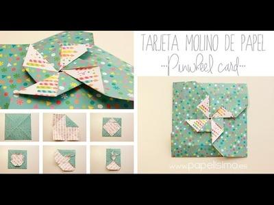 Cómo hacer una tarjeta con forma de molinillo de papel (origami)