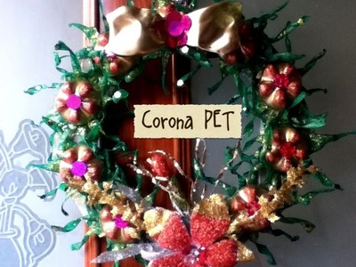 DIY Corona Navideña de PET Botella plástico Reciclaje crown made of plastic pet bottle recycling