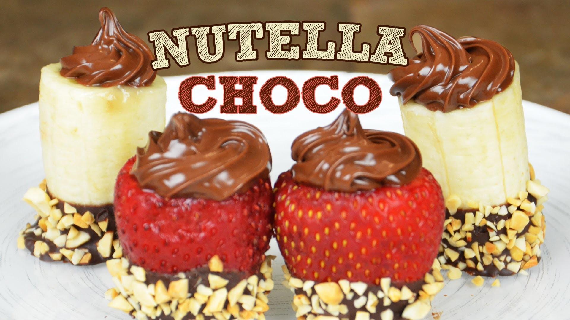 Postre: Fruta cubierta de Nutella y Chocolate | Recetas fáciles postres Fresas con chocolate