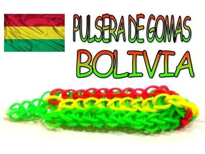 COMO HACER PULSERA DE GOMAS COLORES BANDERA BOLIVIA.HOW TO MAKE RUBBER BRACELET BOLOVIA FLAG.