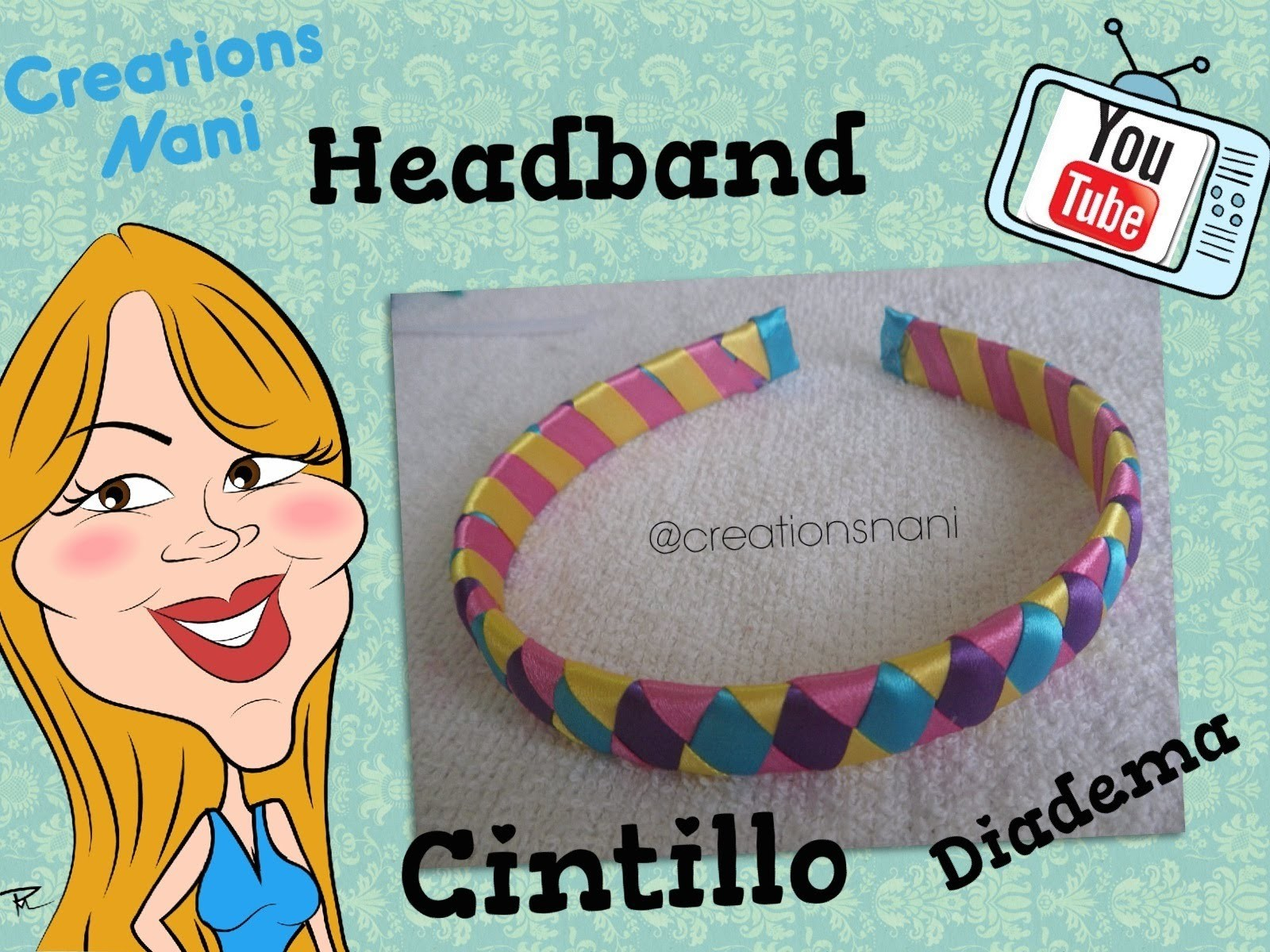 Como hacer un Cintillo de 4 Cintas - How to make a headband | Creations Nani