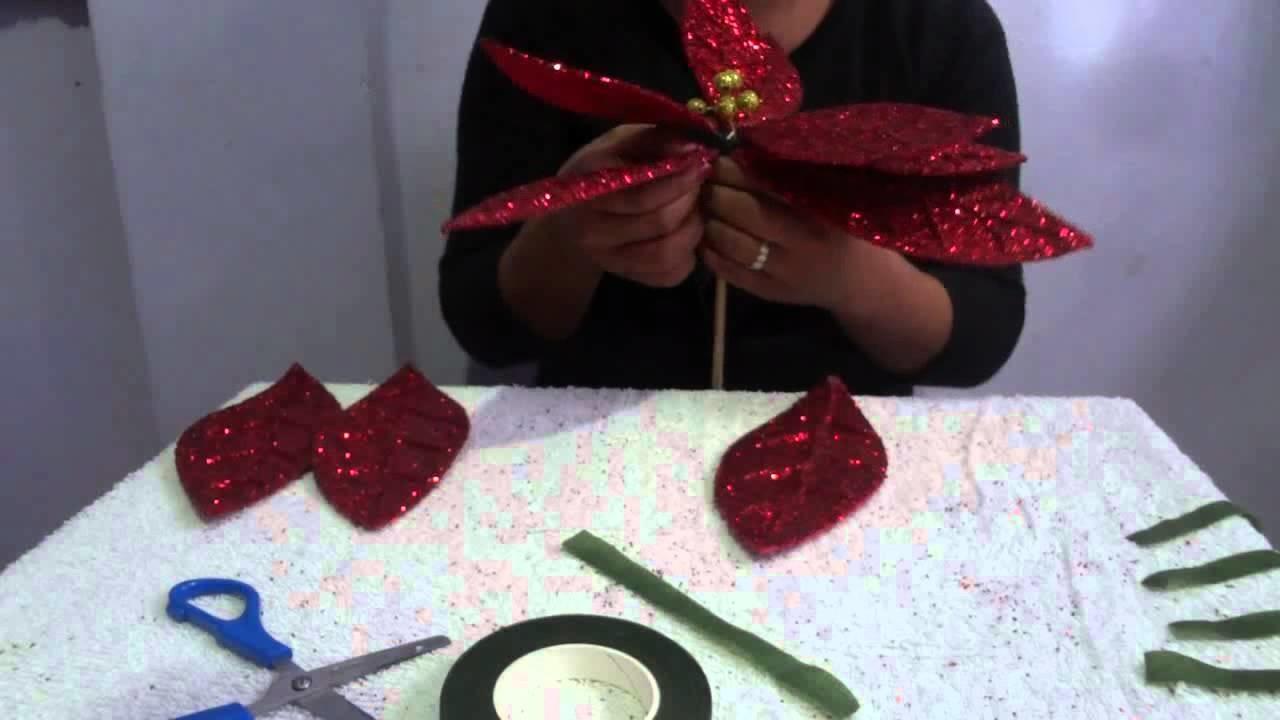 Flor de Nochebuena con fomi (4 de 5) Manualidades Ideas Kenita