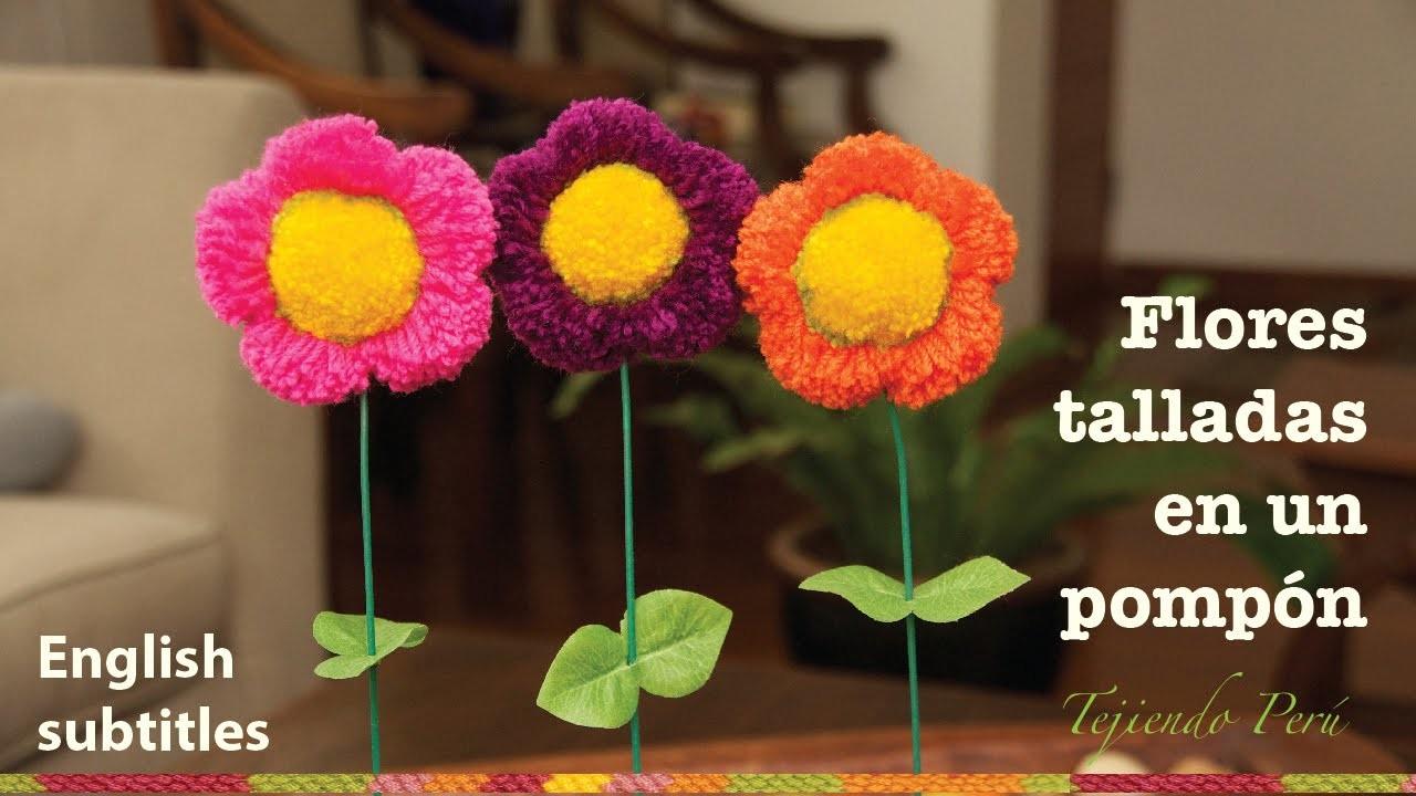 Mini tutorial # 8: flor hecha de un pompón de lana. English subtitles: flower shaped pom pom!