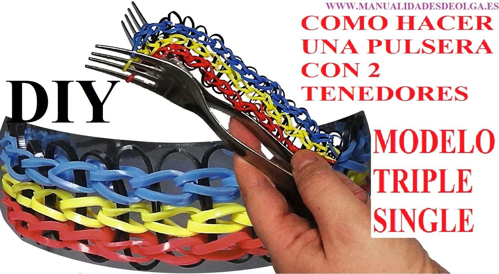 COMO HACER PULSERAS TRIPLE SIMPLE SIN TELAR ¡CON DOS TENEDORES! sin usar Rainbow Loom