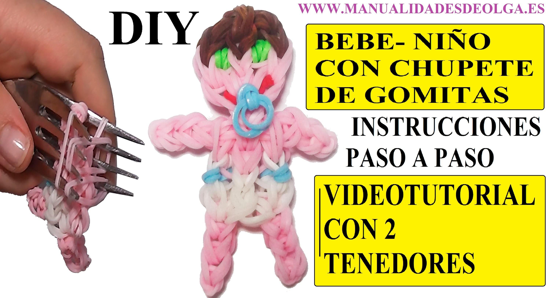 COMO HACER UN BEBE NIÑO DE GOMITAS CON CHUPETE (BABY BOY CHARM) CON DOS TENEDORES. TUTORIAL DIY