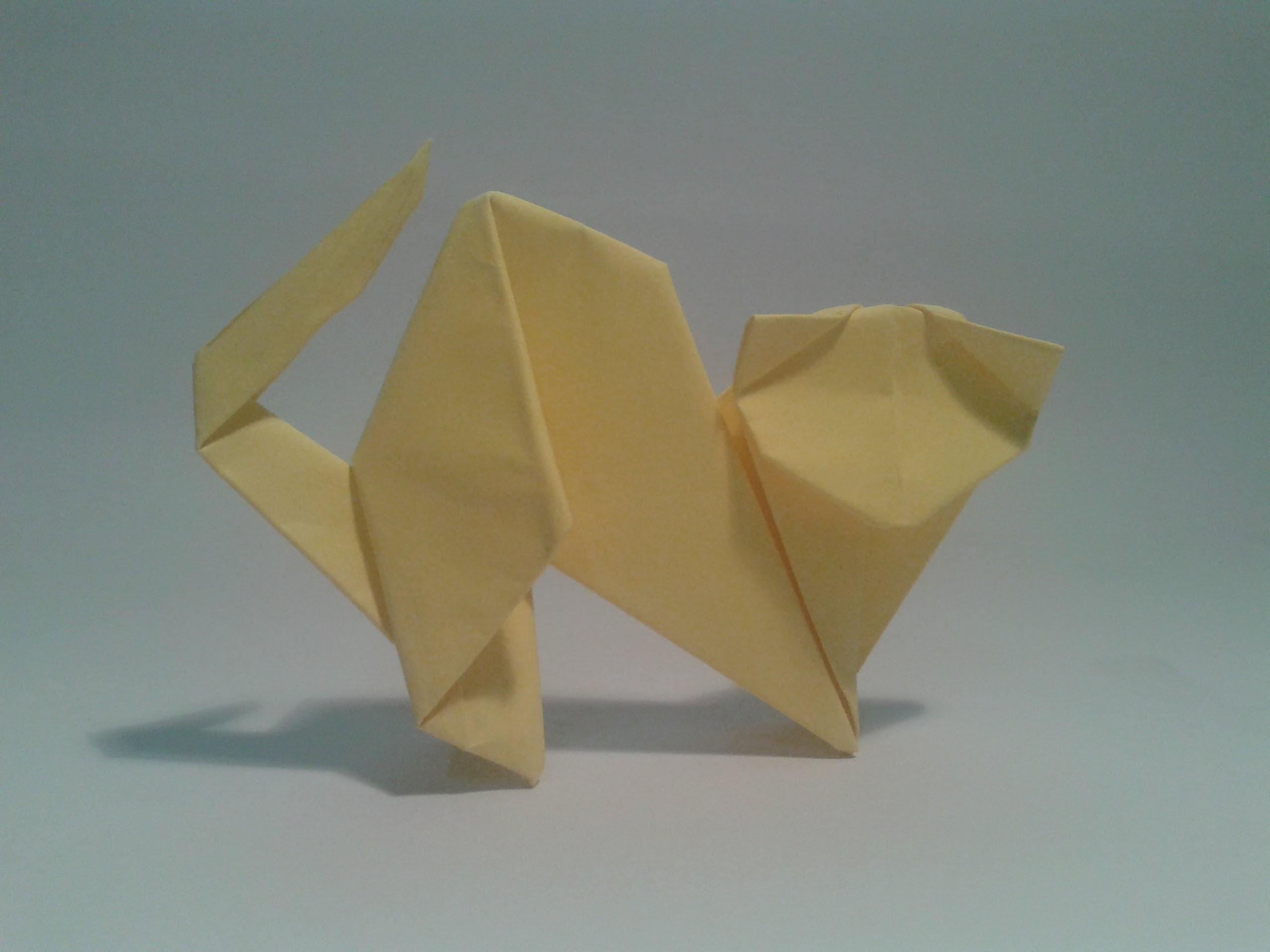 Como hacer un gato de papel facil (origami)
