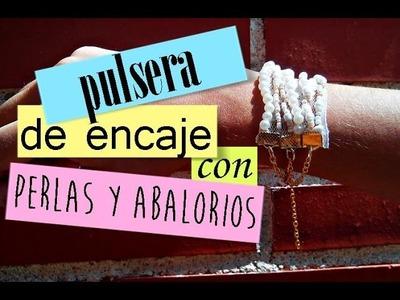 ❀ Cómo hacer una pulsera de encaje, perlas y abalorios ❤| Bisutería DIY