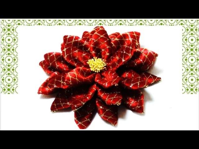 Flores de Navidad de terciopelo Christmas flowers in velvet ribbons