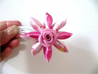 Moños flores dobles en cintas de una sola pieza