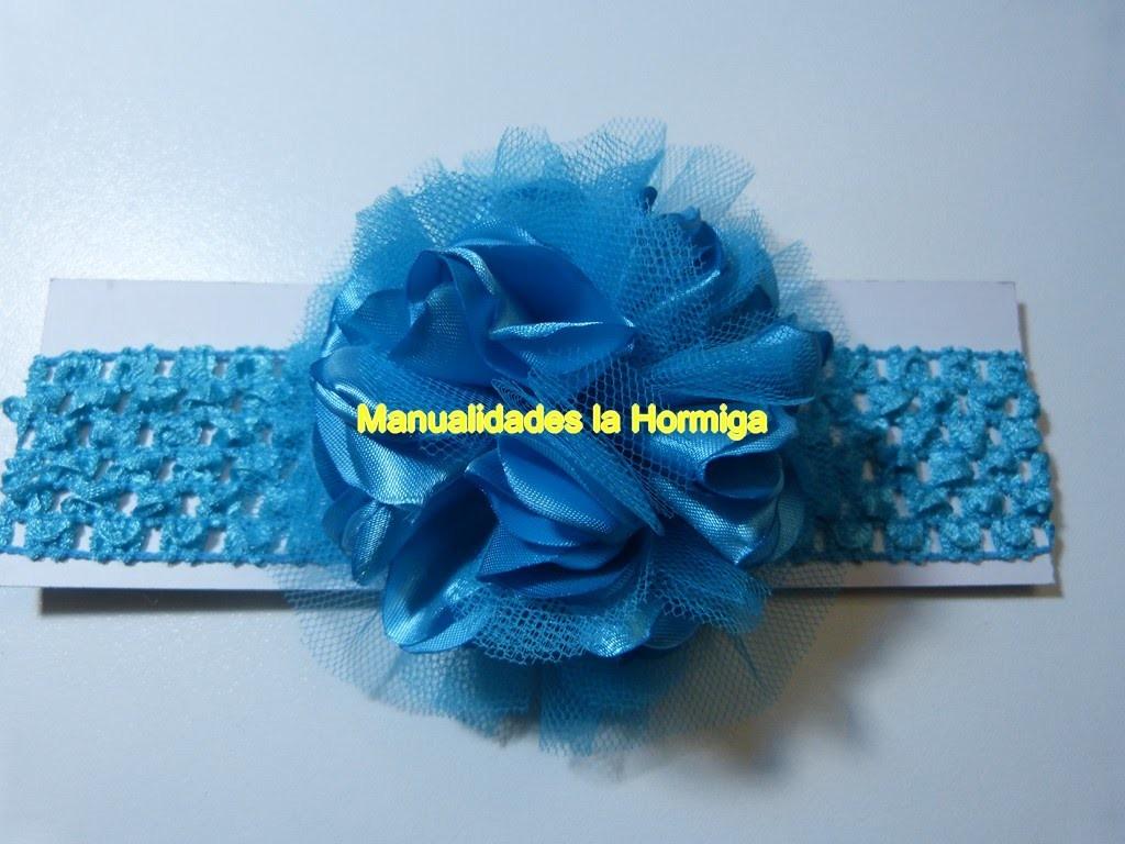 Moños redondos pom pom  tela satin y tull para decorar balacas, diademas,