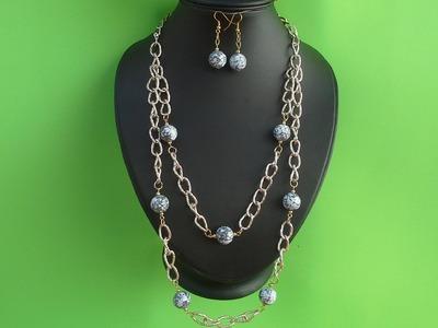 Como hacer un juego de Collar y aretes con cadena decorado con piedras de cristal