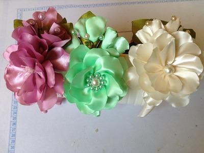 Como hacer una diadema adornada con flores en satin y perlas