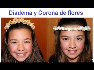Corona de flores y diadema. Ideal para Comunión o boda