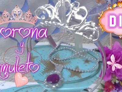 Corona y amuleto o Collar con Silicon Caliente de la Princesa Sofia