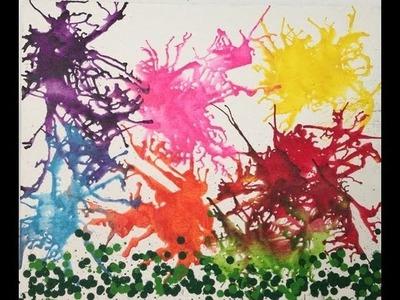 Pintura con Crayones derretidos  y secadora de pelo