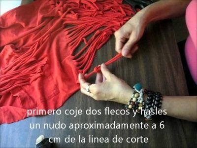 Tutorial como customizar una camiseta usada haciendole flecos y macrame.wmv