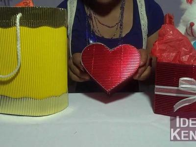 Caja para regalos de papel corrugado paso a paso